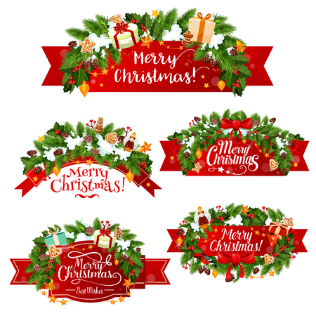 Christmas greeting ribbon decoration icons