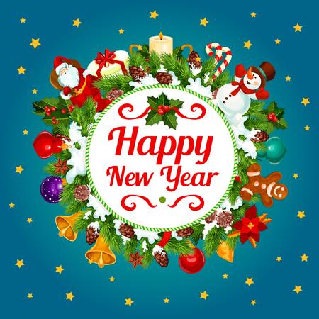 Nieuwjaar decoratie krans wenskaart