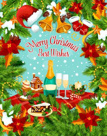 Christmas holiday wish greeting card