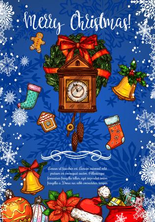 빈티지 시계와 크리스마스 스케치 인사말 카드입니다. 스톡 콘텐츠 - 88633034