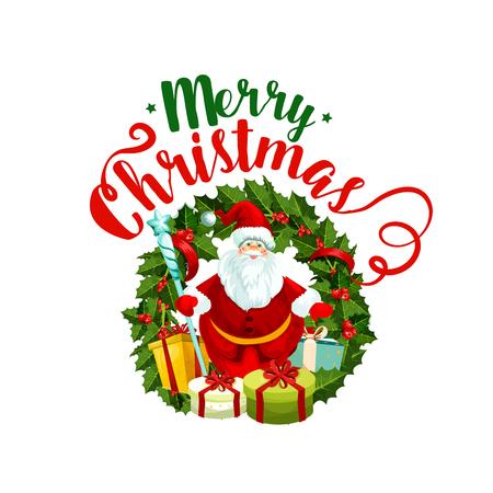 Christmas greeting icon with santa claus.
