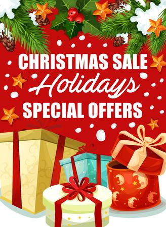 Christmas holiday gift sale poster.