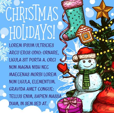 Kerst vakantie wenskaart Stock Illustratie