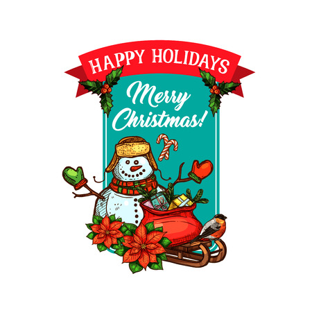 Christmas holiday sketch greeting card. Snowman with Santa gift bag, present box and sleigh New Year festive poster, decorated with ribbon banner, candy cane, holly berry and poinsettia flower Illusztráció