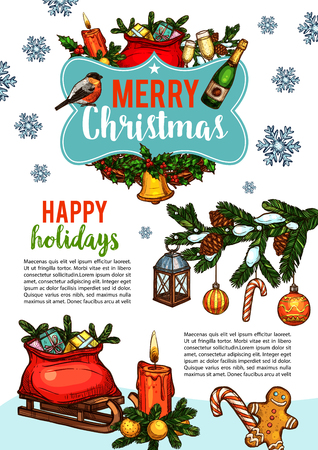 Merry Christmas wish greeting card sketch design for winter holidays celebration. Vector Santa gifts in sleigh under Christmas tree, golden bell or ball decoration and candle in wreath garland