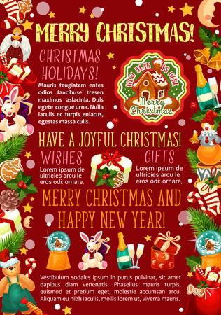 Weihnachtsgeschenkgrußplakat von Winterurlauben. Weihnachtsbaum und Stechpalmenbeere mit Glocke, Stern und Geschenk, Socke, Süßigkeit und Plätzchen, Lebkuchenhaus und Spielwaren mit Wünschen froher Weihnachten und des neuen Jahres Standard-Bild - 88847806