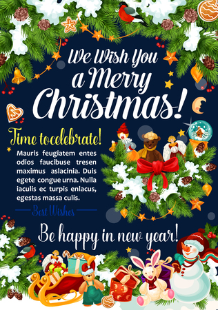 Merry Christmas happy wishes greeting card of snowman and Santa presents in Christmas tree decoration. Vector holly wreath garland of golden bell, New Year gingerbread cookie for winter holiday season