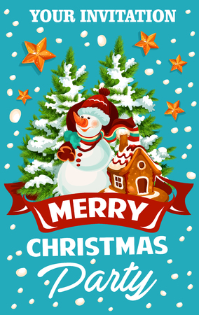 Christmas and New Year holiday celebration party template. Snowman with Xmas tree and Santa gift bag, gingerbread cookie house and star invitation design with ribbon banner and snowflake decoration