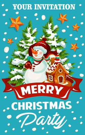 Weihnachts- und Neujahrsfeiertagsfeier-Schablone. Schneemann mit Weihnachtsbaum- und Sankt-Geschenktasche, Lebkuchenplätzchenhaus und Sterneinladungsdesign mit Bandfahne und Schneeflockendekoration Standard-Bild - 88847801