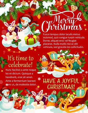雪だるま、プレゼント、サンタ スレート、グリーティング カード、ポスター、バナーの多くより多くのカラフルなイラストとクリスマスのお祝い概  イラスト・ベクター素材