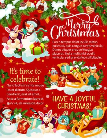 Christmas celebration concept with snowman, gifts, Santa slate and many more  in colorful illustration for  greeting card, poster, banner. Ilustrace