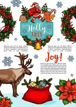 Vrolijk kerstfeest schets ontwerp voor seizoensgebonden wenskaart of winter vakantie wens. Huidige de giftzak en rendier van de kerstman, kroon van de de hulstkroon van de Nieuwjaardecoratie van gouden klok op Kerstboom Stock Illustratie