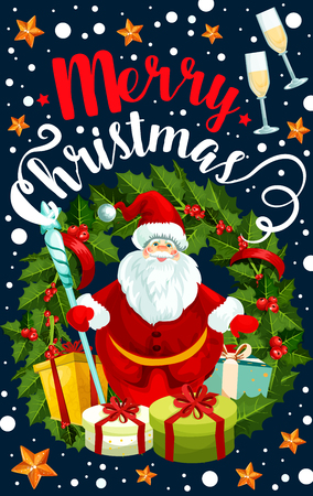 Merry Christmas typography with Santa Claus, gifts, wreath, stars, champagne and many more Christmas elements in colorful illustration which can be use for greeting cards, poster, invitation. Illustration