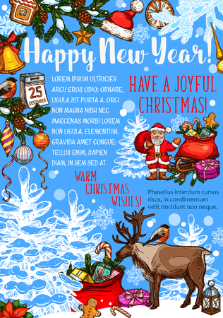 Happy New Year typography with Santa Claus, gifts, reindeer and many more Christmas elements in colorful illustration which can be use for greeting cards, poster, invitation.