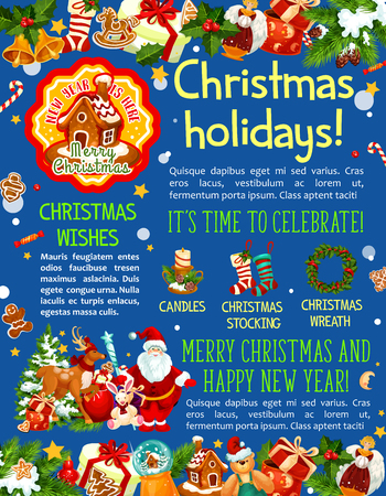 Christmas Holidays typography with Santa Claus, gifts, wreath and many more Christmas elements in colorful illustration which can be use for greeting cards, poster, invitation. Ilustrace