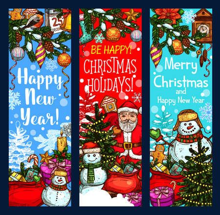 Set of Holiday greetings with Santa Claus, gifts, wreath, snowman and many more Christmas elements in colorful illustration which can be use for greeting cards, poster, invitation.