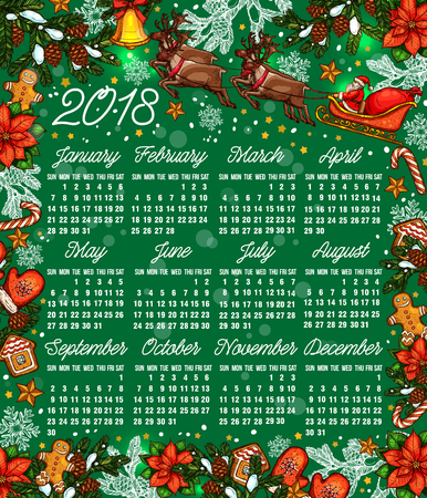 Calendar template with Christmas garland and gifts in colorful illustration. Illustration