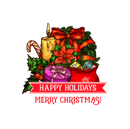 Holiday greetings template with wreath, candy cane, gifts and many more Christmas elements in colorful illustration which can be use for greeting cards, poster, invitation.