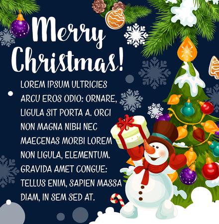 サンタの贈り物やクリスマス ツリーと雪だるまのメリー クリスマスの願いグリーティング カード黄金の鐘、お菓子やキャンドルや冬の休日のため  イラスト・ベクター素材