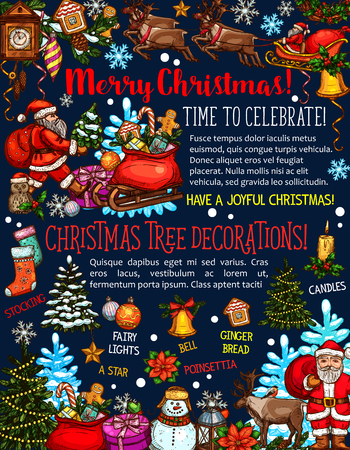Merry Christmas and happy holidays greeting card design of decorations and Santa gifts. Vector Christmas tree and New Year cookies, snowflakes and snowman with deer for congratulation wishes template Illustration