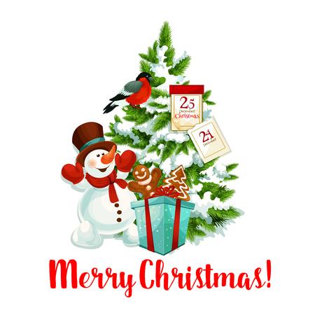 Vrolijk Kerstmispictogram van sneeuwman en Kerstmangiften onder Kerstboom voor wintertijdwens of het ontwerp van de vakantiegroetkaart. Vectornieuwjaar decoratie krans, 25 december kalender en goudvink Stock Illustratie