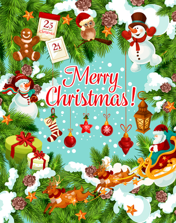 Merry Christmas winter holidays greeting card for 25 December celebration wish. Vector New Year Santa with gift bag on sleigh, Christmas tree in golden bell, ball and star decoration garland in snow Illustration