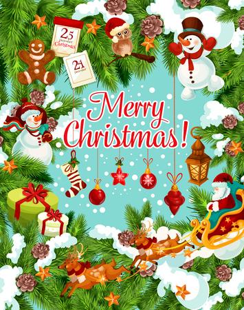 Vrolijk kerstfeest wintervakantie wenskaart voor 25 december feestwens. Vectornieuwjaarkerstman met giftzak op ar, Kerstboom in gouden klok, bal en sterdecoratieslinger in sneeuw