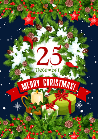 Merry Christmas greeting card design of 25 December calendar for Merry Christmas or Happy New Year winter season. Vector Santa gifts, Xmas tree or holly decoration wreath and red ribbon garland