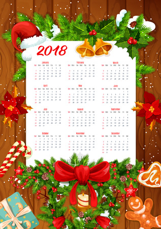 Christmas holiday calendar on wooden background. New Year and winter holidays calendar template with Xmas tree and holly wreath, gift, bell and ribbon, candy, snowflake, candle and cookie