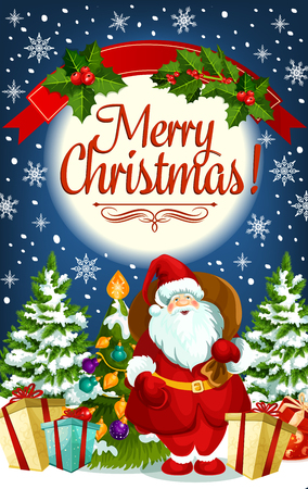 Christmas greeting card with Santa Claus and New Year gift. Santa with present and Xmas tree festive banner, decorated by ball, holly berry, snowflake and ribbon banner with wishes of Merry Christmas