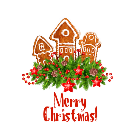 Merry Christmas wish of gingerbread cookie and holly wreath icon for winter holiday celebration greeting card design. Vector Christmas candy house under snow in poinsettia New Year garland decoration