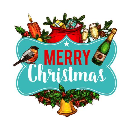 Vrolijk de groetwens van Kerstmis wenskaartschetsontwerp van de slingerslinger van het Nieuwjaar. De vector gouden klok van de kerstboomdecoratie op hulstkroon, de gift van de Kerstman stelt zak en champagne voor de wintervakantie voor