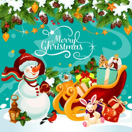 Merry Christmas wenskaart winter vakantie ontwerp van sneeuwman in kerstmuts en cadeau in de slee. Vector kerstboom decoratie garland van gouden bel, ster en snoep cookie voor nieuwe jaarviering