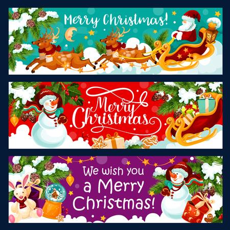 Vrolijke Kerstmis wintervakantie groet banners of kaart voor het nieuwe jaar wensen. Vectorkerstman met giftzak op ar, Kerstboom in de gouden slinger van de klokdecoratie, sneeuwvlokken en de kroon van de linthulst