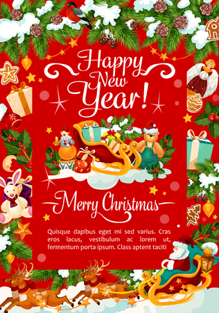 Happy New Year and Merry Christmas wish greeting card for winter holidays celebration. Vector Santa gifts in sleigh under Christmas tree, golden bell and star decoration, snowman and wreath garland