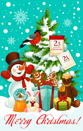 Merry Christmas wish greeting card design for happy winter holidays. Vector snowman with Santa gifts at Christmas tree with, 25 December calendar and New Year decoration garland wreath in snow