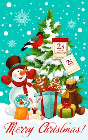 Vrolijk de kaartontwerp van de Kerstmiswens voor gelukkige de wintervakantie. Vectorsneeuwman met Kerstmangiften bij Kerstboom met, de kalender van 25 December en de slingerkroon van de Nieuwjaardecoratie in sneeuw