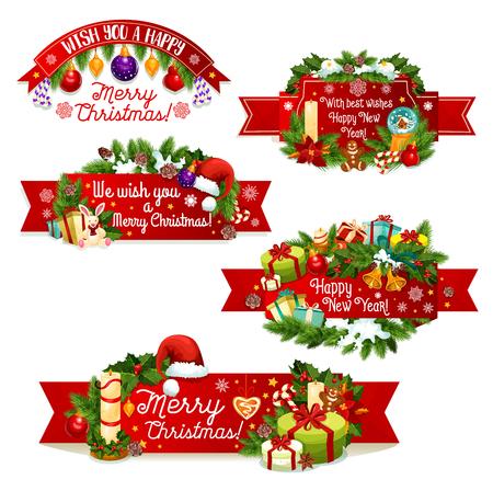 Vrolijk kerstfeest banners. Stock Illustratie