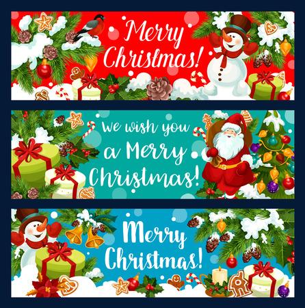 Merry Christmas banners. Stock Illustratie