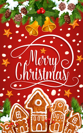 Christmas holiday sketch with Merry Christmas text, gingerbread houses and other Christmas elements in colorful illustration which can be use for greeting card, poster and invitation. Illusztráció