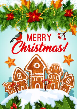 De vakantieschets van Kerstmis met Vrolijke Kerstmistekst, peperkoekhuizen en andere Kerstmiselementen in kleurrijke illustratie die gebruik voor groetkaart, affiche en uitnodiging kan zijn.