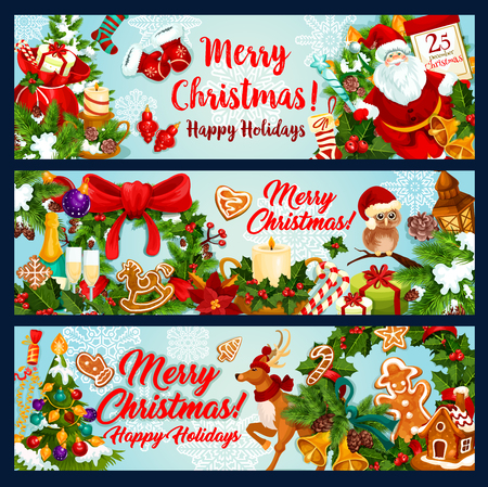 Set of Christmas holiday sketch with Merry Christmas text, Santa Claus, wreath and other Christmas elements in colorful illustration which can be use for greeting card, poster and invitation.