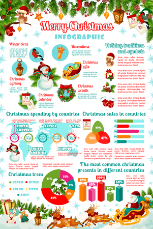Christmas holiday celebration information graphic in colorful illustration. 일러스트