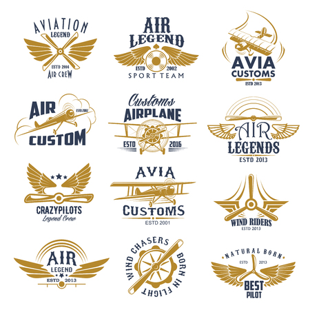 Aviation airplane legend team vector retro icons