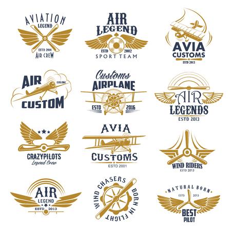 Luchtvaart vliegtuig legende team vector retro pictogrammen