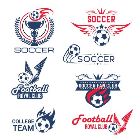 Vector conjunto de iconos de torneo de fútbol fútbol club