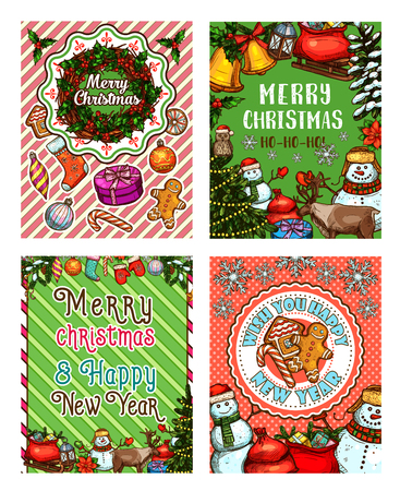 Christmas greeting banner with snowman and gifts