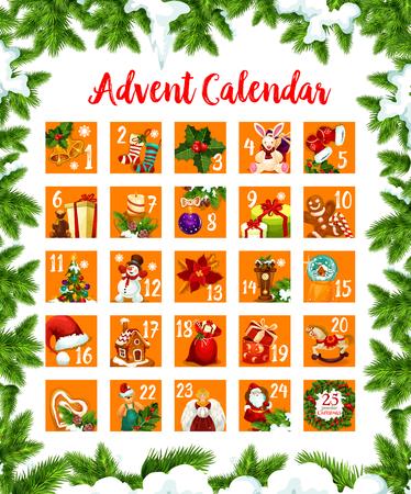 Navidad advenimiento mes días calendario vector diseño Foto de archivo - 89175397