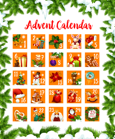 Christmas advent month days calendar vector design