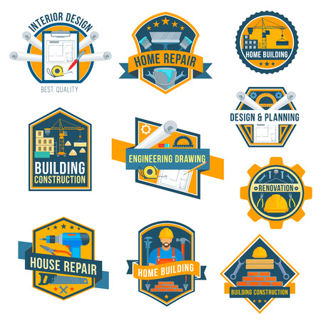 Vector label icons of house repair work tools Illustration